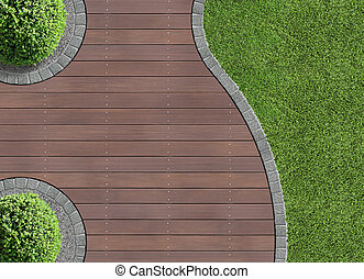 garden detail in aerial view with wooden terrace