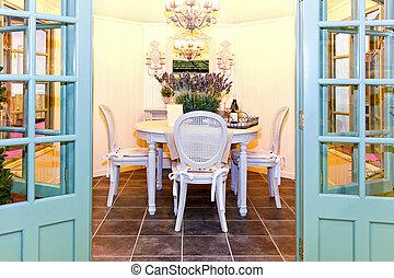 Garden dinning room - Glass garden house with elegant...