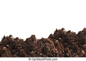 garden dirt with fertilizer on a white background