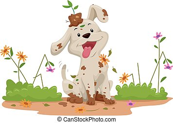 Garden Dog Flowers Mess - Illustration of a Cute Little Dog ...