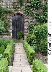garden., drzwi, ogród, tajemnica, angielski, ścieżka
