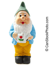 Garden dwarf - Hand painted dwarf isolated on a white...