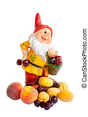 Garden dwarf with  fruits isolated on white