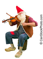 Garden dwarf with violin