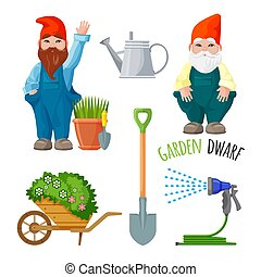 Garden dwarf, working tools for gardening, metal spade, watering can