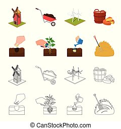 Garden, ecology, farmingand other web icon in cartoon,outline style. Feed, plot, farm,icons in set collection.