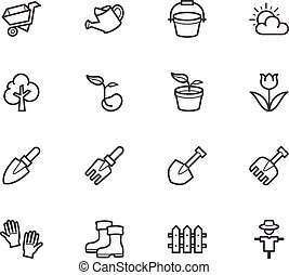 Garden element vector black icon set on white background