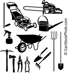 garden equipment - black and white silhouettes of a garden...