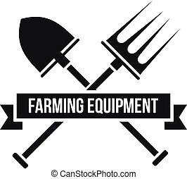 Garden equipment logo, simple style