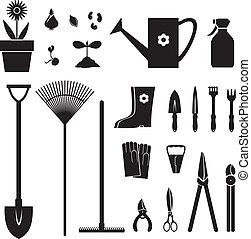 Garden equipment set - Set of silhouette images of garden ...