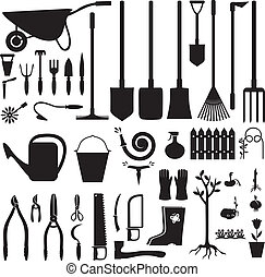 Garden equipment set - Set of silhouette images of garden ...
