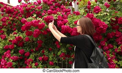 garden., femme, rose, selfie, caucasien, portrait, prendre