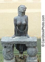 garden., femme, topless, poitrine, statue, anglaise