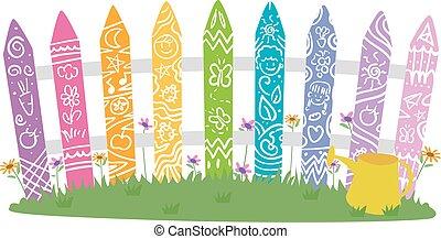Garden Fence Rainbow Color Doodle Illustration