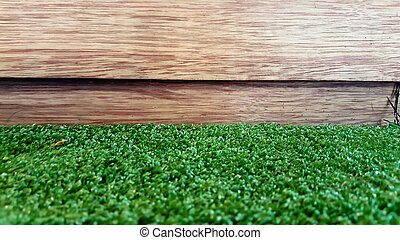 garden fence - wood and grass
