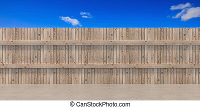 Garden fence wooden boards at house backyard, blue sky with white clouds background. 3d illustration