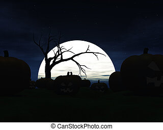 Garden filled with scary halloween pumpkins at night. A big moon in the background and the silhouette of a spooky dead tree.
