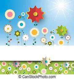 garden., fleurs ressort, vecteur, arrière-plan.