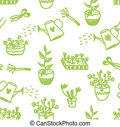 Garden flowers and tools seamless pattern cute design