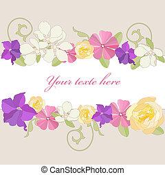 Garden flowers frame. - Garden flowers ornate frame...