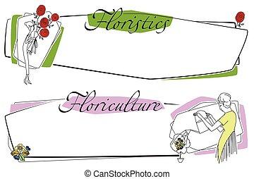 garden., flowers., vrouw, illustration., liggen