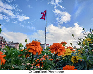 Garden flowers with National flag of Nepal in the background