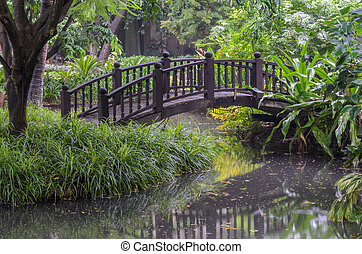 Garden foot bridge over a pond