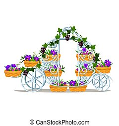 Garden forged rack in the form of a vintage coach with baskets of flowers isolated on white background. Vector cartoon close-up illustration.