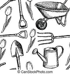 Garden fork, barrow, watering can and shovel, seamless...