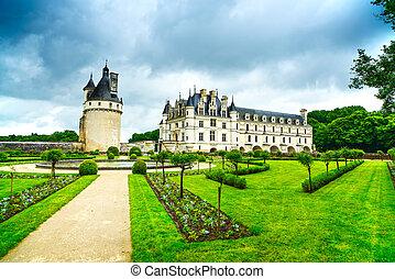 garden., frankreich, chenonceau, mittelalterlich, de,...