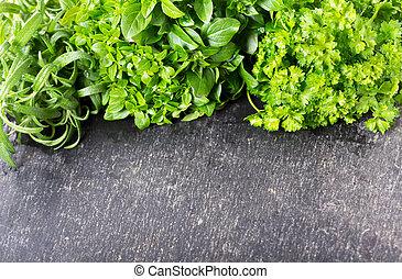 garden fresh herbs on a dark table