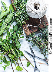 Garden fresh herbs preparation for drying