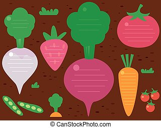 Garden Fruits Vegetables Background Illustration