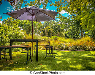 Furniture Dining Table with Chairs and Parasol in the Shade in a Lush backyard Garden