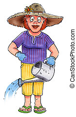 garden gal - a woman holding a watering can wearing a hat