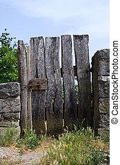 Garden gate - old wooden garden gate