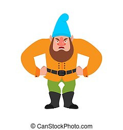 Garden gnome angry. dwarf evil. aggressive Vector ...