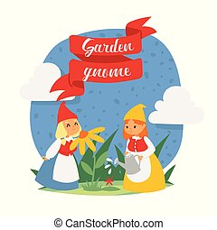 Garden gnome girls dwarf characters cadr and gardening flayer klitsch spring kids figure background vector illustration.