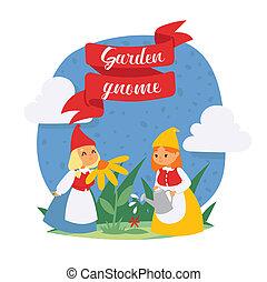Garden gnome girls dwarf characters cadr and gardening flayer klitsch spring kids figure background illustration.