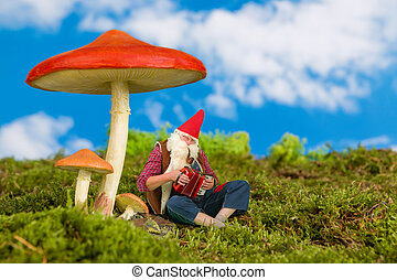 Garden gnome playing music - Funny old garden gnome playing...