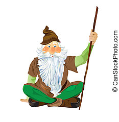 Garden Gnome Sitting Cross Legged - Scalable Vector EPS10...