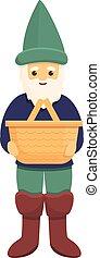 Garden gnome with basket icon, cartoon style