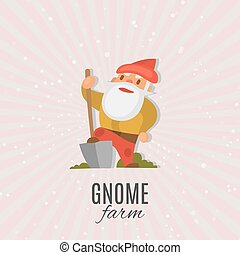 Garden gnome with shovel cartoon vector illustration. Funny dwarf. Fairy tale. Fantastic character and magical stories clip art. Cute garden gnome decorations.