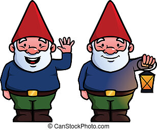 Garden gnomes - Two garden gnomes, one waving and one...