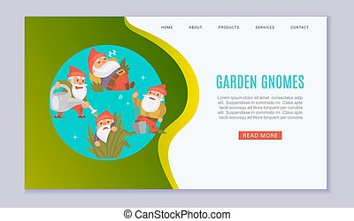 Garden gnomes web template vector illustration. Funny sleeping, watering plants and holding showel dwarf. Fairy tale. Fantastic gnomes figures for garden.