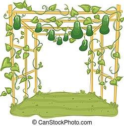 Garden Gourd Arbor Trellis - Illustration of a Garden with...