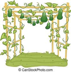 Garden Gourd Arbor Trellis - Illustration of a Garden with...