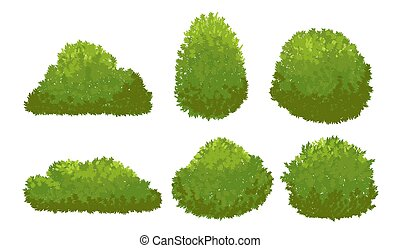 Garden green bushes. Cartoon shrub and bush vector set isolated on white background