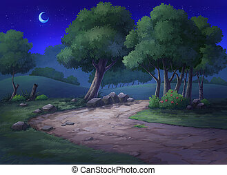 Garden have a mound and trees at night - Paint illustrations...