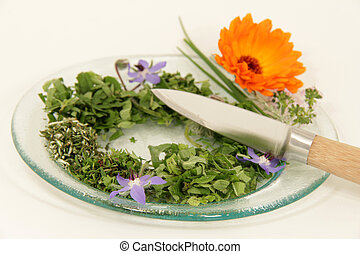 garden herbs cutting